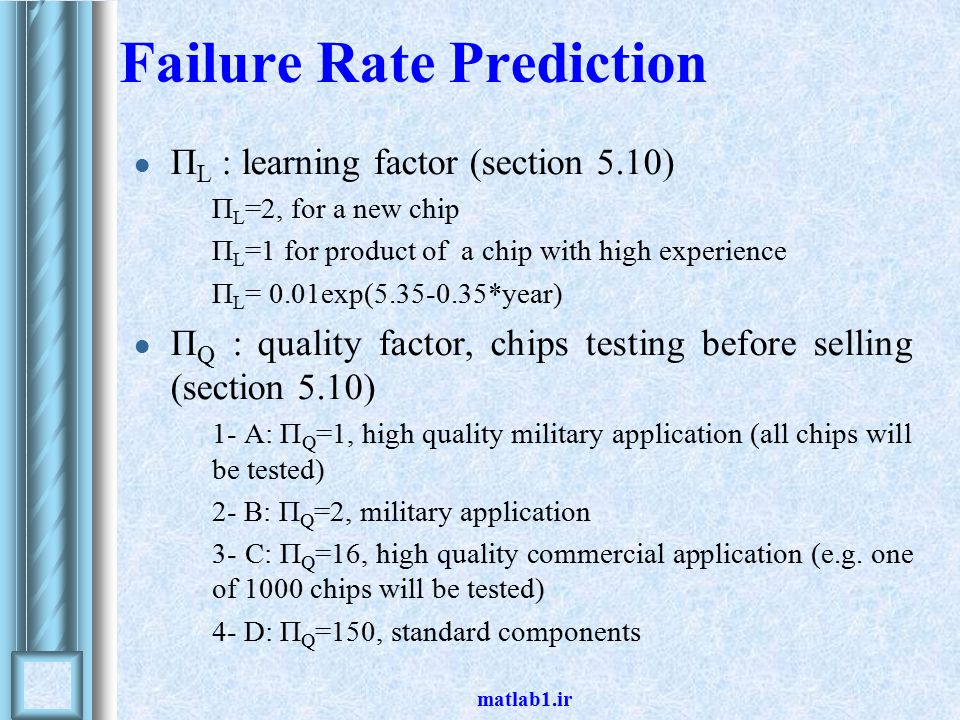 matlab1.ir Failure Rate Prediction Π L : learning factor (section 5.10) Π L =2, for a new chip Π L =1 for product of a chip with high experience Π L = 0.01exp(5.35-0.35*year) Π Q : quality factor, chips testing before selling (section 5.10) 1- A: Π Q =1, high quality military application (all chips will be tested) 2- B: Π Q =2, military application 3- C: Π Q =16, high quality commercial application (e.g.