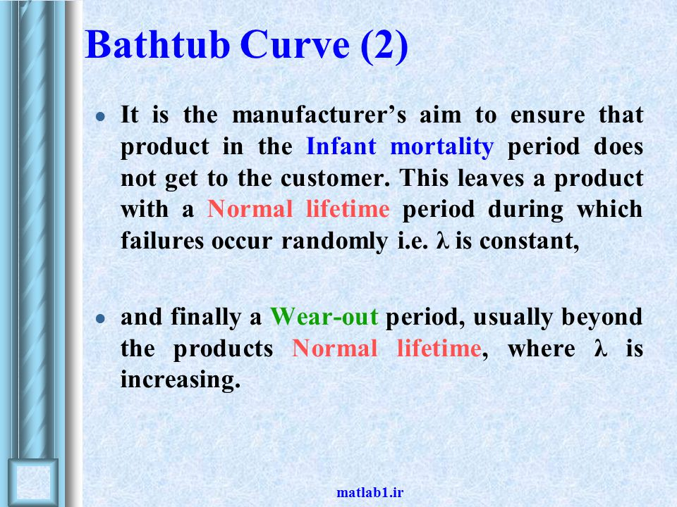 Bathtub Curve (2) It is the manufacturer's aim to ensure that product in the Infant mortality period does not get to the customer.