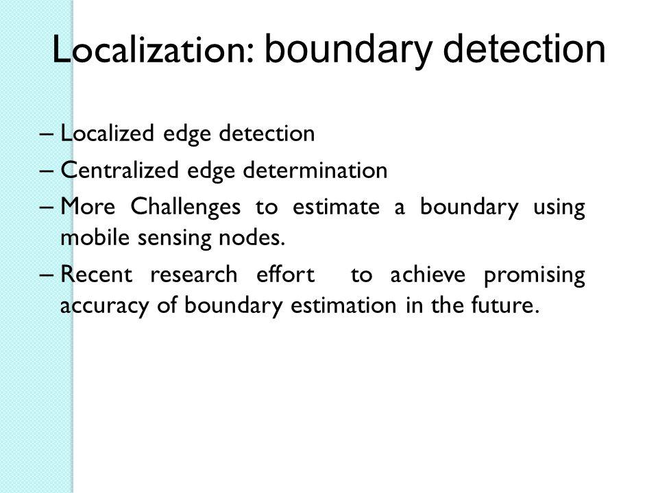Localization: boundary detection – Localized edge detection – Centralized edge determination – More Challenges to estimate a boundary using mobile sensing nodes.