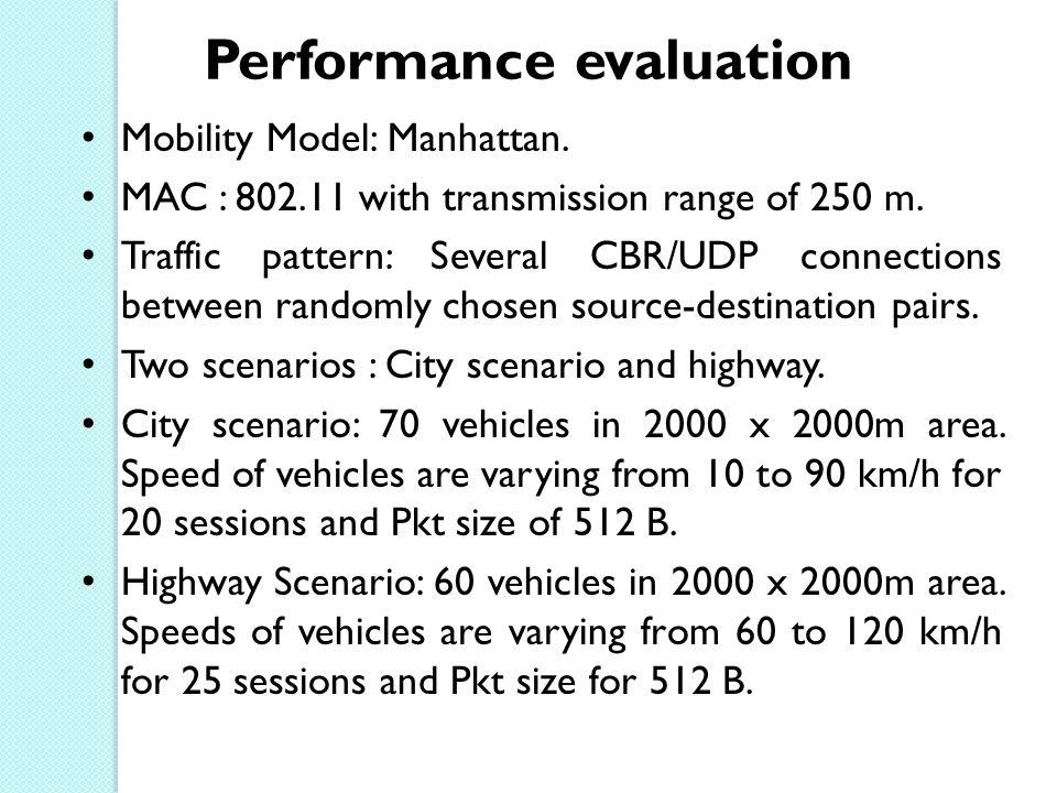 Performance evaluation Mobility Model: Manhattan.MAC : 802.11 with transmission range of 250 m.