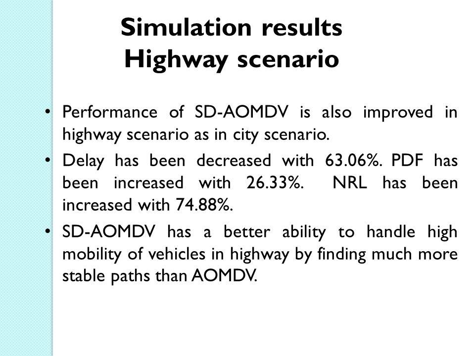 Performance of SD-AOMDV is also improved in highway scenario as in city scenario.