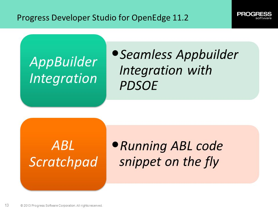 © 2013 Progress Software Corporation. All rights reserved. 13 Progress Developer Studio for OpenEdge 11.2 Seamless Appbuilder Integration with PDSOE A