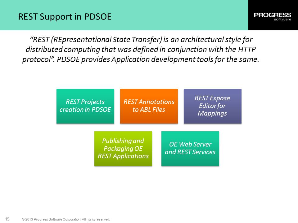 """© 2013 Progress Software Corporation. All rights reserved. 19 REST Support in PDSOE """"REST (REpresentational State Transfer) is an architectural style"""