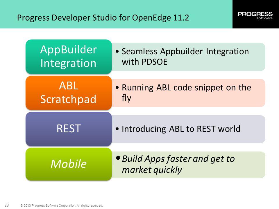 © 2013 Progress Software Corporation. All rights reserved. 28 Progress Developer Studio for OpenEdge 11.2 Seamless Appbuilder Integration with PDSOE A