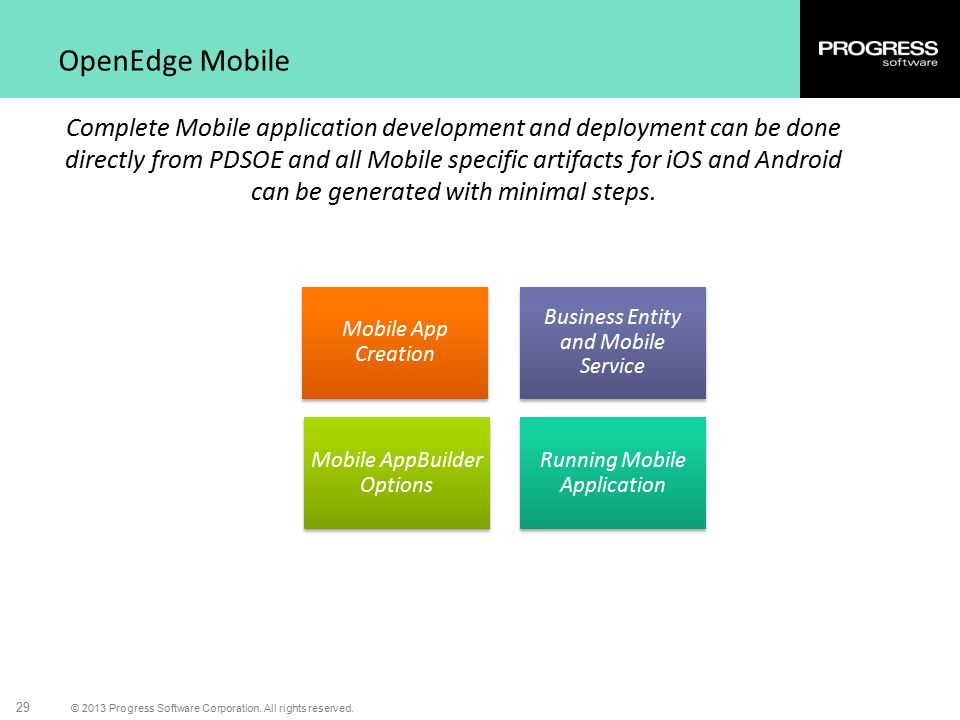 © 2013 Progress Software Corporation. All rights reserved. 29 OpenEdge Mobile Complete Mobile application development and deployment can be done direc