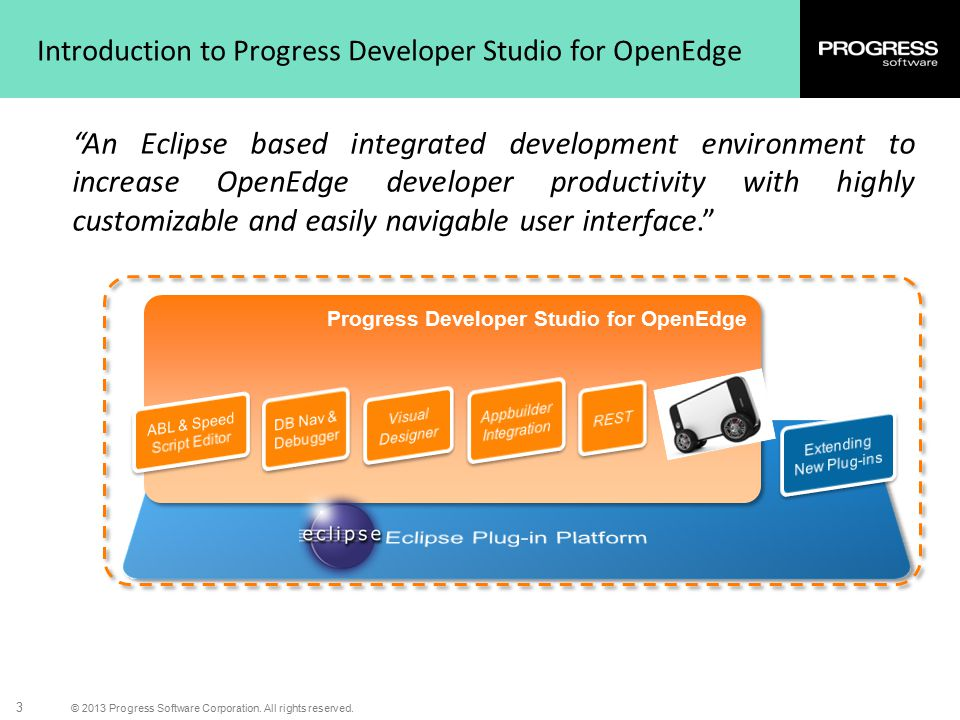 """© 2013 Progress Software Corporation. All rights reserved. 3 Introduction to Progress Developer Studio for OpenEdge """"An Eclipse based integrated devel"""