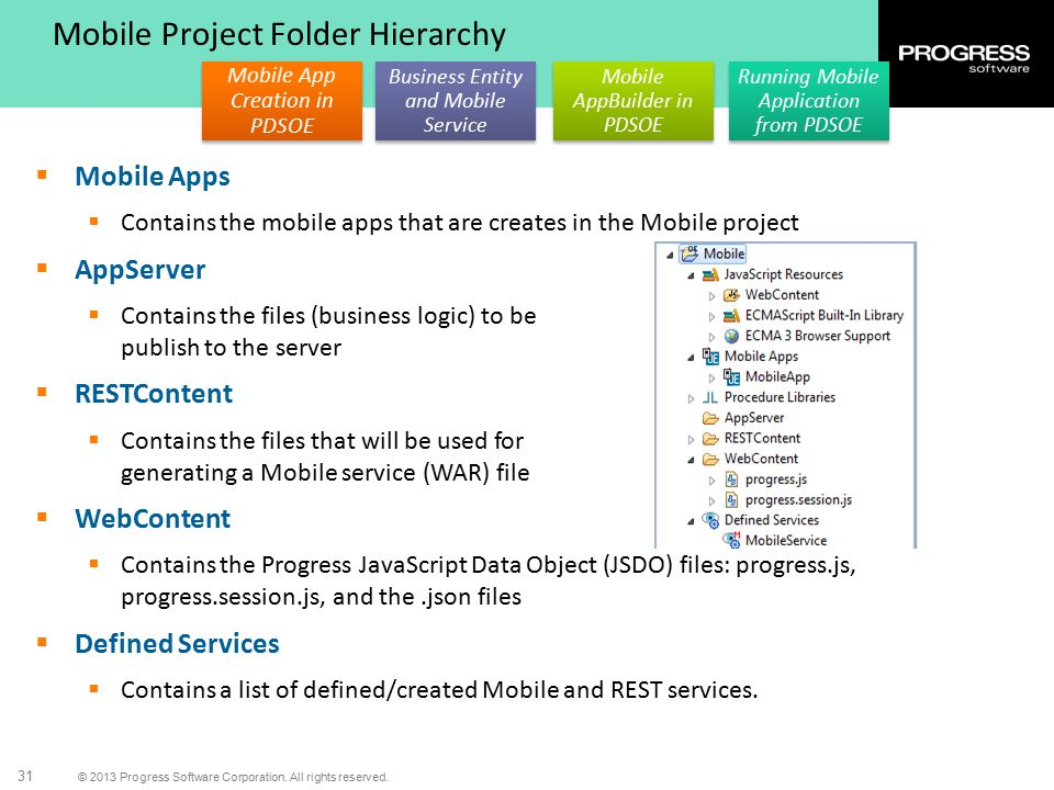 © 2013 Progress Software Corporation. All rights reserved. 31 Mobile App Creation in PDSOE Business Entity and Mobile Service Mobile AppBuilder in PDS