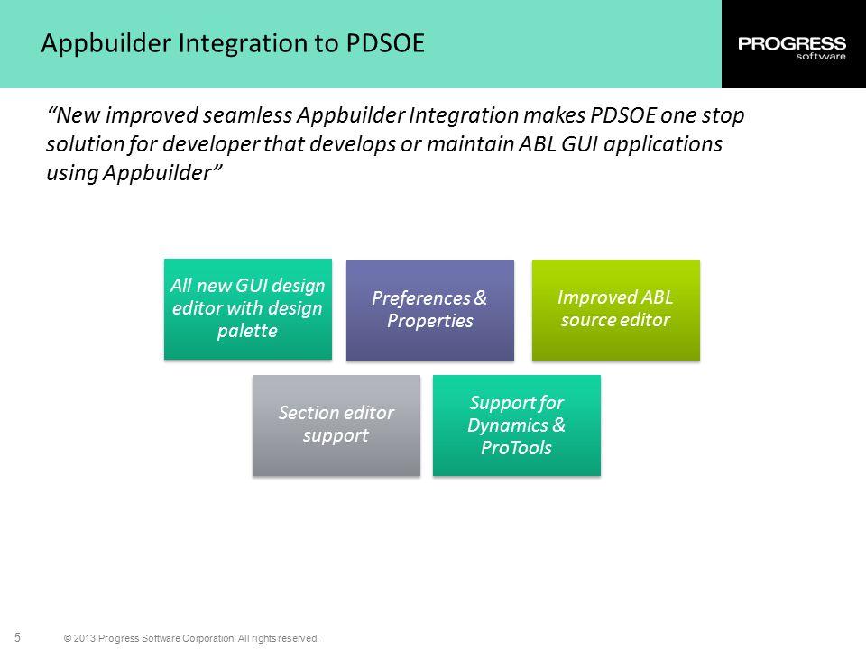 "© 2013 Progress Software Corporation. All rights reserved. 5 Appbuilder Integration to PDSOE ""New improved seamless Appbuilder Integration makes PDSOE"