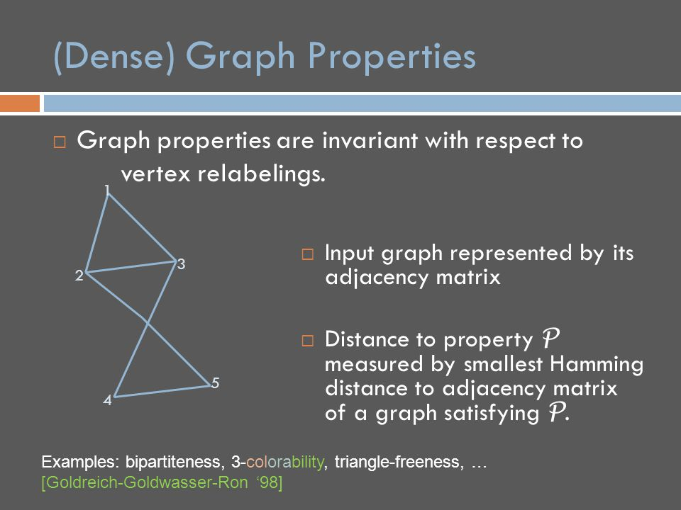 (Dense) Graph Properties  Graph properties are invariant with respect to vertex relabelings.