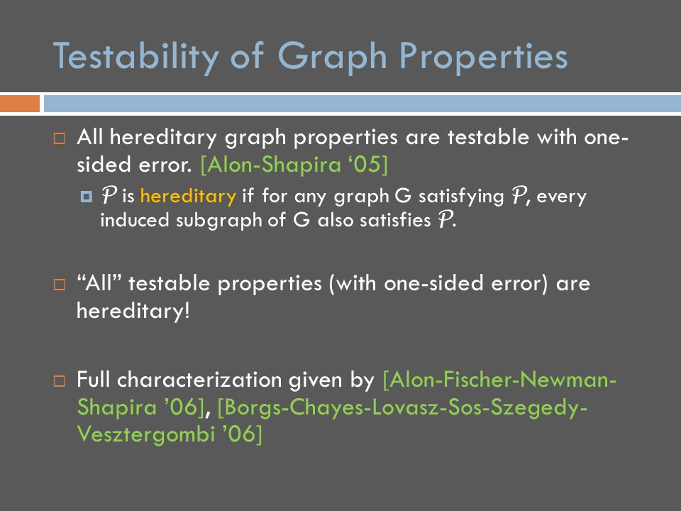 Testability of Graph Properties  All hereditary graph properties are testable with one- sided error.