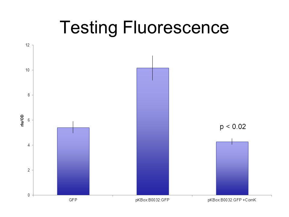 Testing Fluorescence p < 0.02