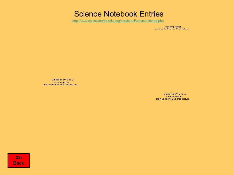 Science Notebook Entries http://www.sciencenotebooks.org/notebookFeatures/entries.php Go Back