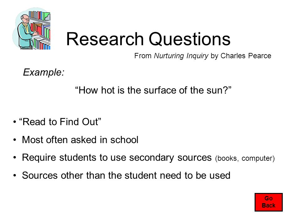 Research Questions From Nurturing Inquiry by Charles Pearce Read to Find Out Most often asked in school Require students to use secondary sources (books, computer) Sources other than the student need to be used Example: How hot is the surface of the sun? Go Back
