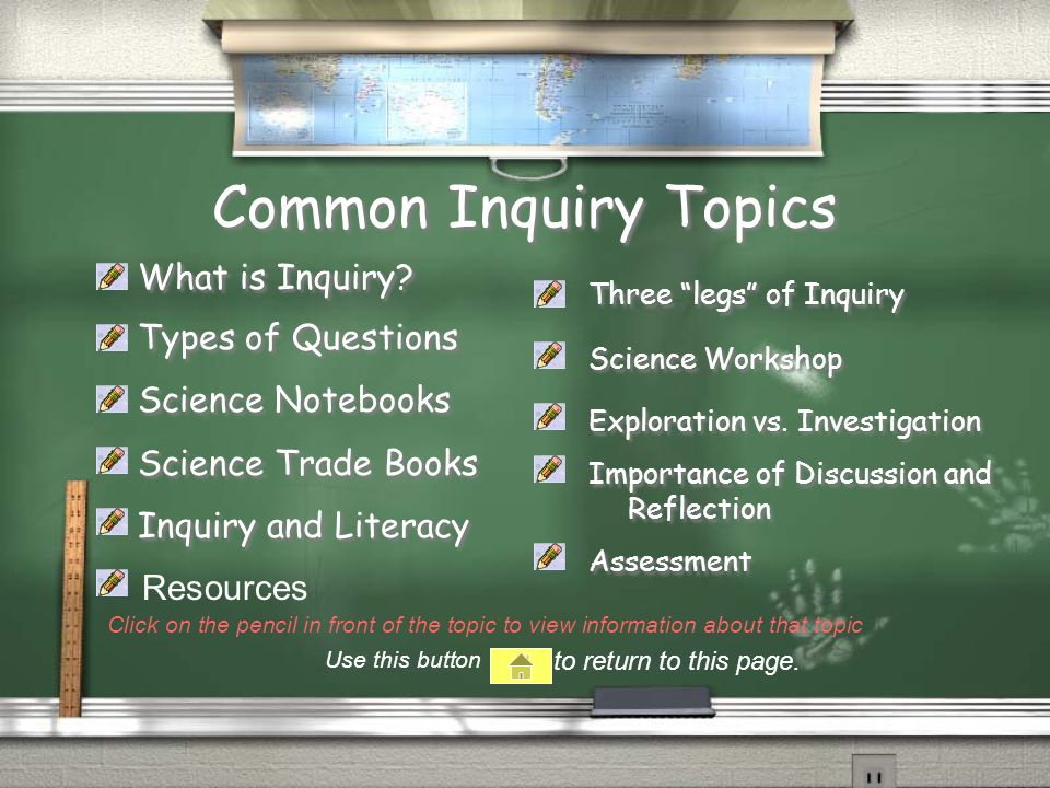 Common Inquiry Topics What is Inquiry.