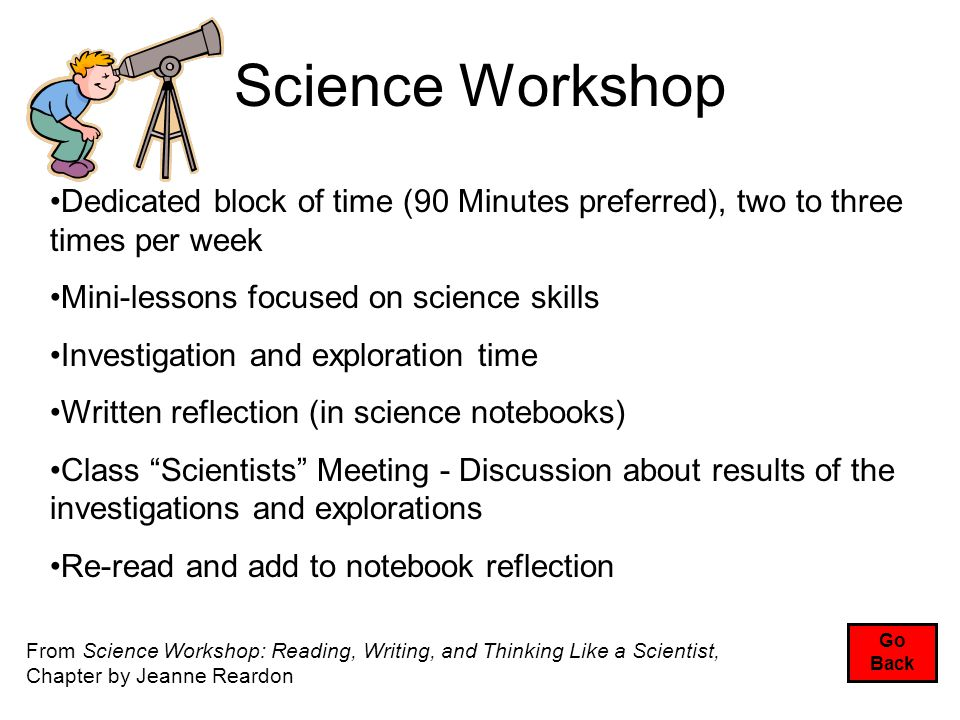 Science Workshop Go Back Dedicated block of time (90 Minutes preferred), two to three times per week Mini-lessons focused on science skills Investigation and exploration time Written reflection (in science notebooks) Class Scientists Meeting - Discussion about results of the investigations and explorations Re-read and add to notebook reflection From Science Workshop: Reading, Writing, and Thinking Like a Scientist, Chapter by Jeanne Reardon