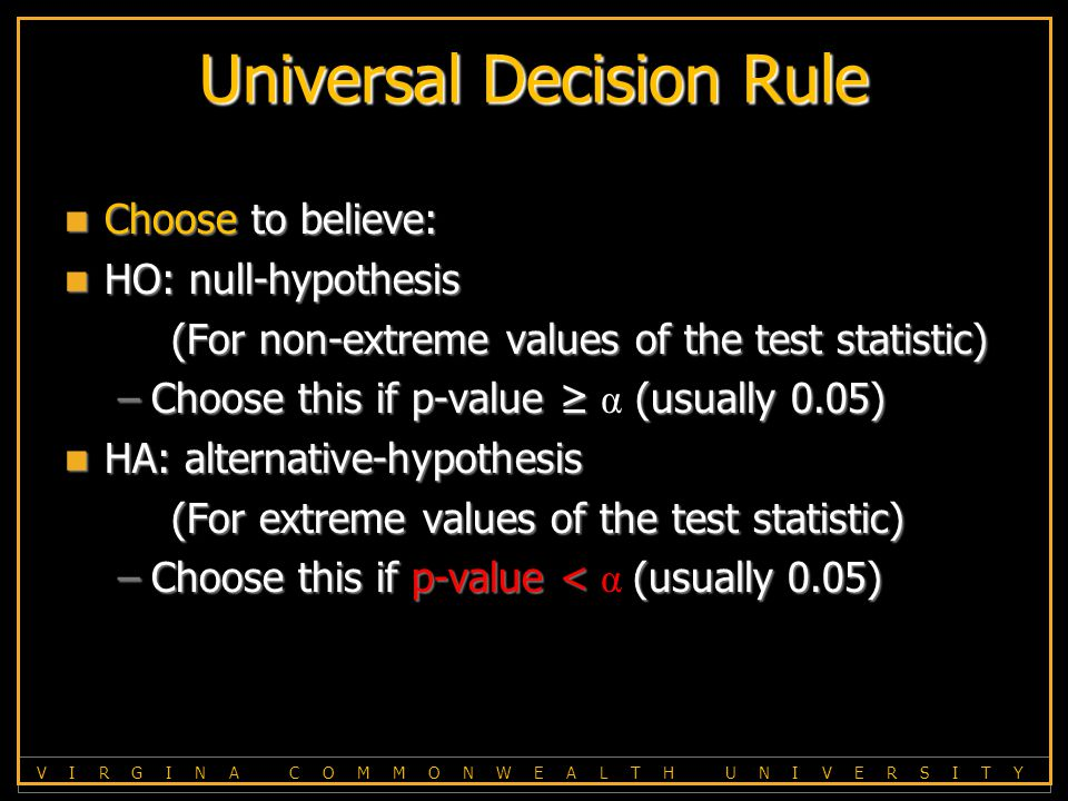 V I R G I N A C O M M O N W E A L T H U N I V E R S I T Y Universal Decision Rule Choose to believe: Choose to believe: HO: null-hypothesis HO: null-hypothesis (For non-extreme values of the test statistic) –Choose this if p-value ≥ (usually 0.05) –Choose this if p-value ≥ α (usually 0.05) HA: alternative-hypothesis HA: alternative-hypothesis (For extreme values of the test statistic) –Choose this if p-value <(usually 0.05) –Choose this if p-value < α (usually 0.05)
