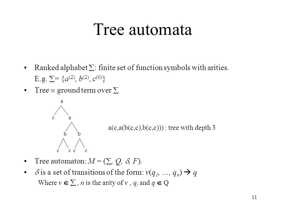 11 Tree automata Ranked alphabet  : finite set of function symbols with arities. E.g.  = {a (2), b (2), c (0) } Tree  ground term over  a(c,a(b(c,