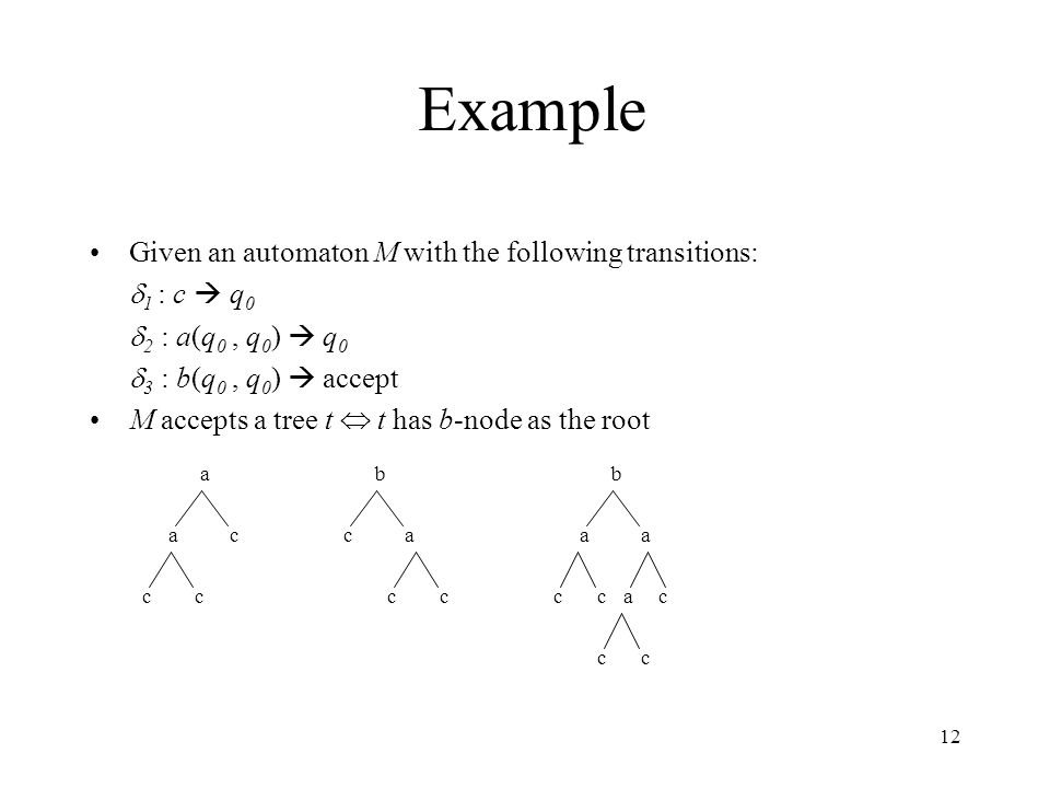 12 Example Given an automaton M with the following transitions:  1 : c  q 0  2 : a(q 0, q 0 )  q 0  3 : b(q 0, q 0 )  accept M accepts a tree t