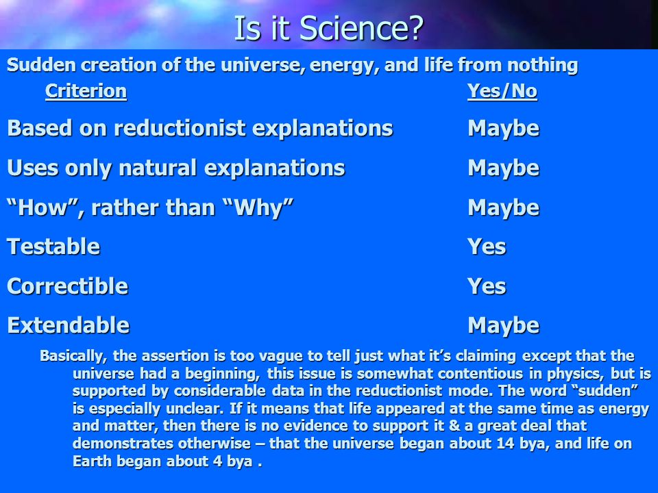 "History of Creationism ""Creation-Science"" or ""Scientific Creationism"" 1. Sudden creation of the universe, energy, and life from nothing; 2. The insuff"