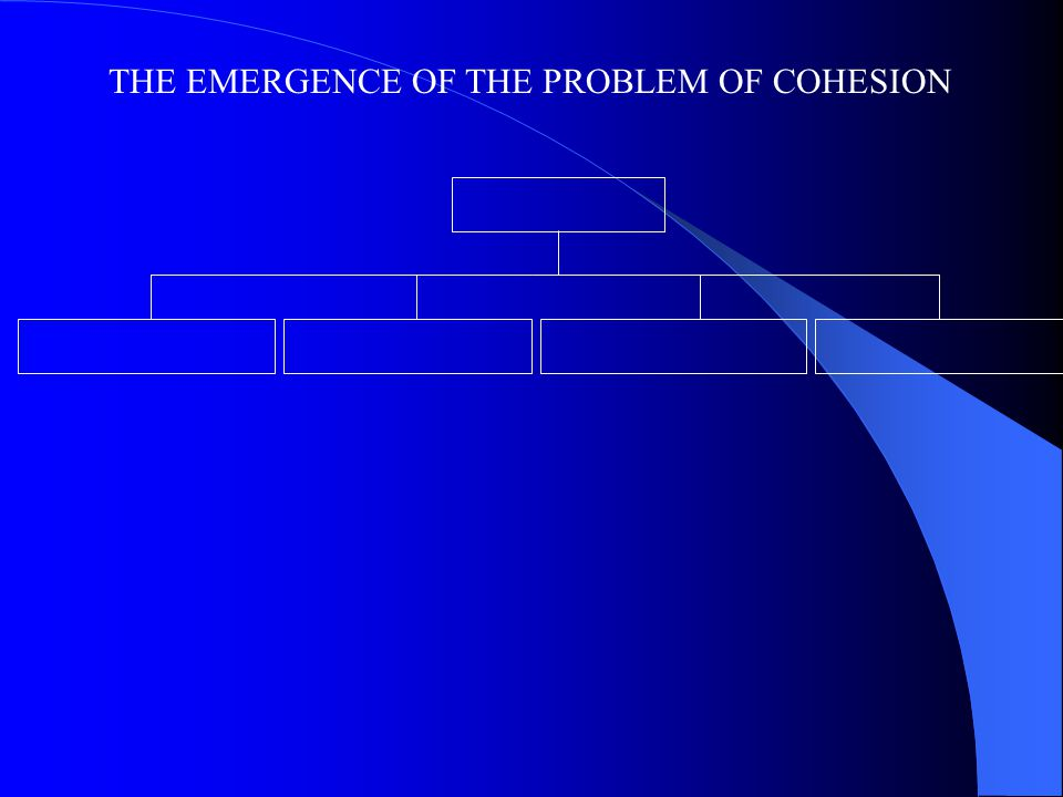 THE EMERGENCE OF THE PROBLEM OF COHESION