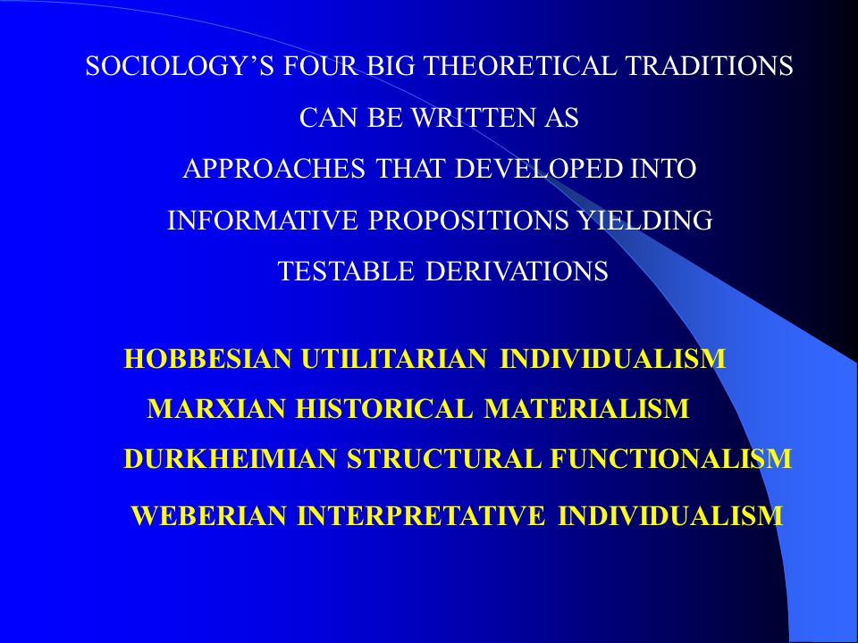 SOCIOLOGY'S FOUR BIG THEORETICAL TRADITIONS CAN BE WRITTEN AS APPROACHES THAT DEVELOPED INTO INFORMATIVE PROPOSITIONS YIELDING TESTABLE DERIVATIONS HOBBESIAN UTILITARIAN INDIVIDUALISM DURKHEIMIAN STRUCTURAL FUNCTIONALISM MARXIAN HISTORICAL MATERIALISM WEBERIAN INTERPRETATIVE INDIVIDUALISM