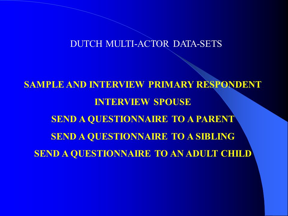 DUTCH MULTI-ACTOR DATA-SETS SAMPLE AND INTERVIEW PRIMARY RESPONDENT INTERVIEW SPOUSE SEND A QUESTIONNAIRE TO A PARENT SEND A QUESTIONNAIRE TO A SIBLING SEND A QUESTIONNAIRE TO AN ADULT CHILD