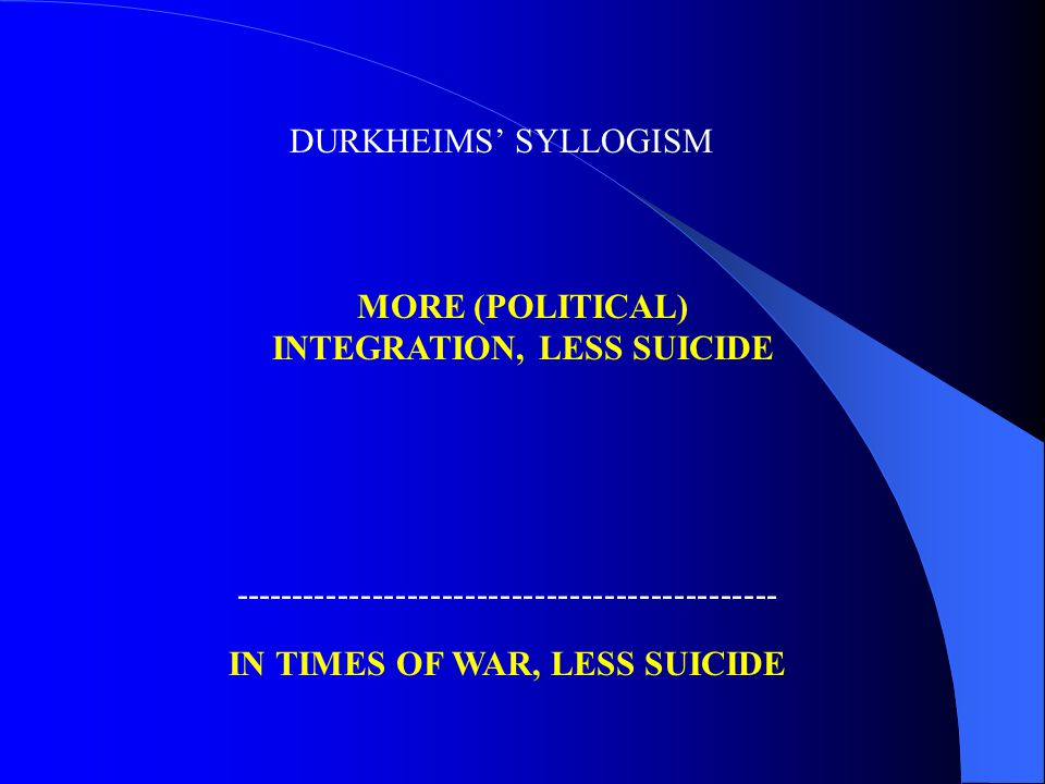 DURKHEIMS' SYLLOGISM IN TIMES OF WAR, LESS SUICIDE ----------------------------------------------- MORE (POLITICAL) INTEGRATION, LESS SUICIDE