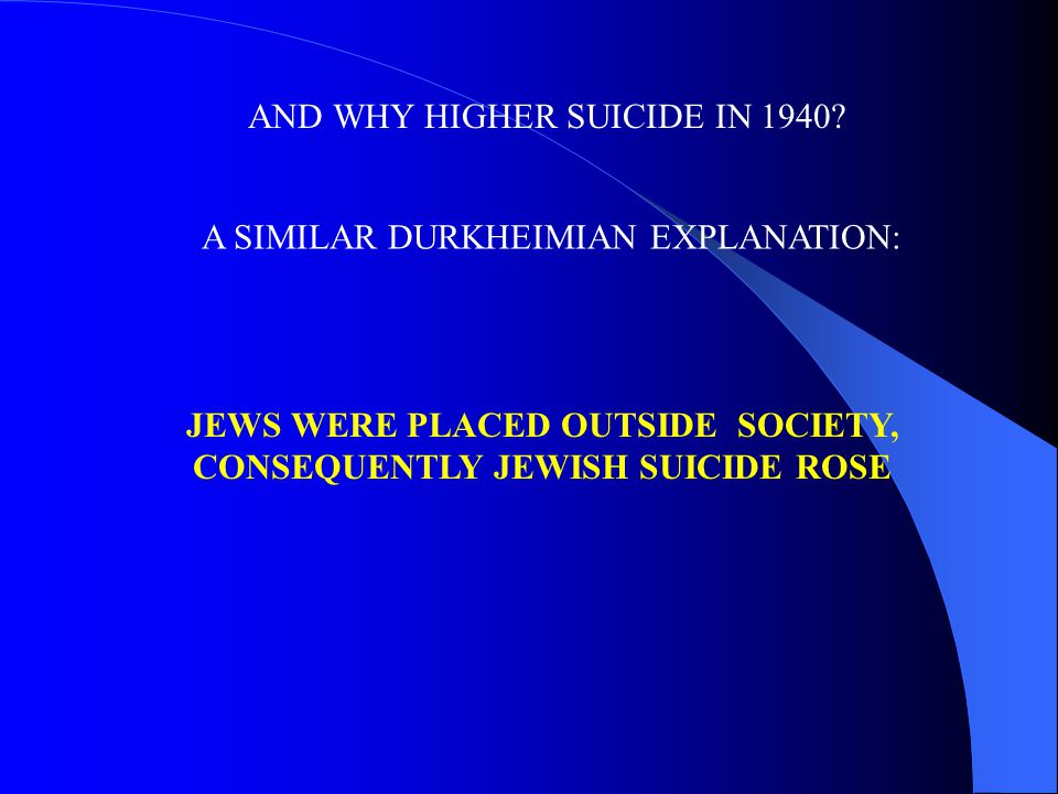 A SIMILAR DURKHEIMIAN EXPLANATION: JEWS WERE PLACED OUTSIDE SOCIETY, CONSEQUENTLY JEWISH SUICIDE ROSE AND WHY HIGHER SUICIDE IN 1940