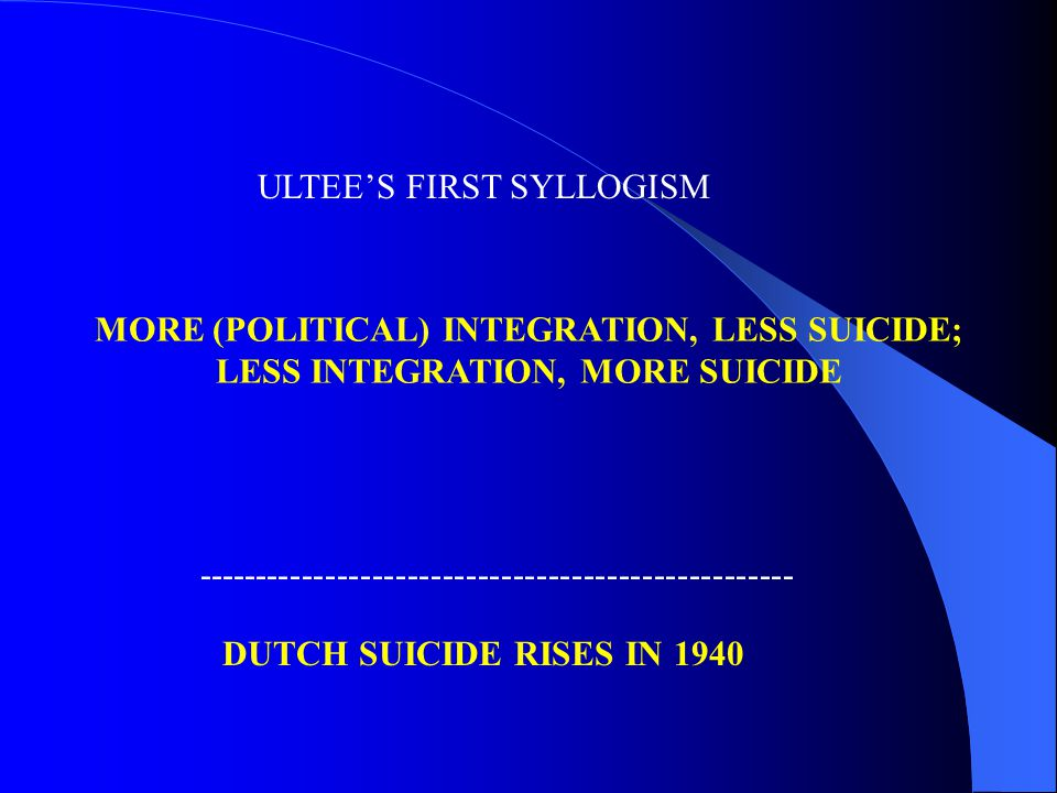 ULTEE'S FIRST SYLLOGISM DUTCH SUICIDE RISES IN 1940 --------------------------------------------------- MORE (POLITICAL) INTEGRATION, LESS SUICIDE; LESS INTEGRATION, MORE SUICIDE