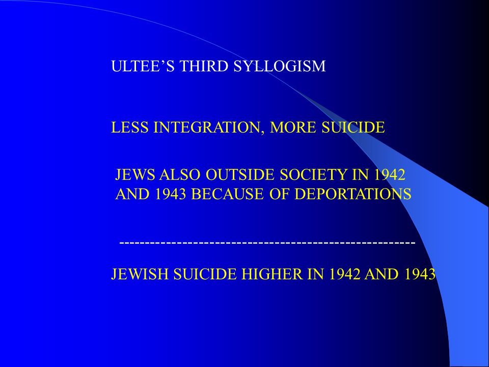 ULTEE'S THIRD SYLLOGISM LESS INTEGRATION, MORE SUICIDE JEWS ALSO OUTSIDE SOCIETY IN 1942 AND 1943 BECAUSE OF DEPORTATIONS JEWISH SUICIDE HIGHER IN 1942 AND 1943 -------------------------------------------------------