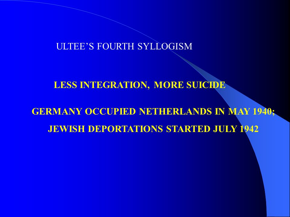 GERMANY OCCUPIED NETHERLANDS IN MAY 1940; JEWISH DEPORTATIONS STARTED JULY 1942 ULTEE'S FOURTH SYLLOGISM LESS INTEGRATION, MORE SUICIDE