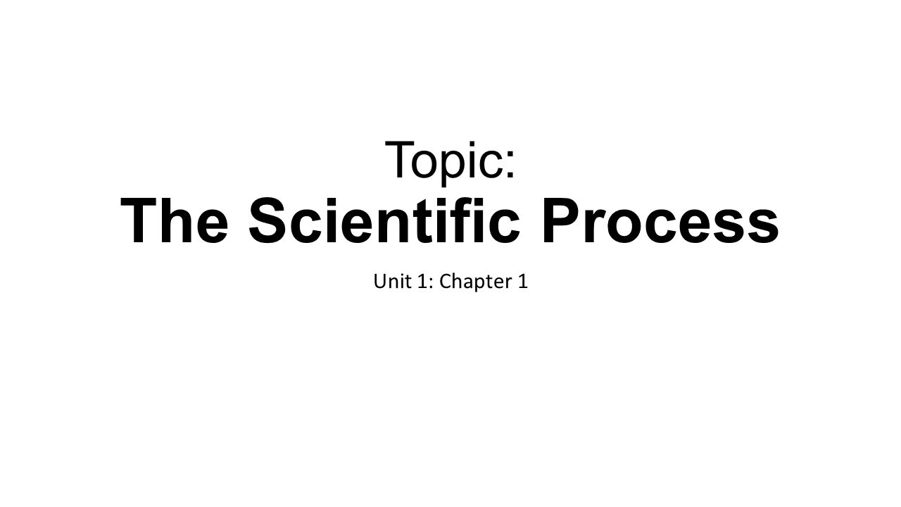 Topic: The Scientific Process Unit 1: Chapter 1