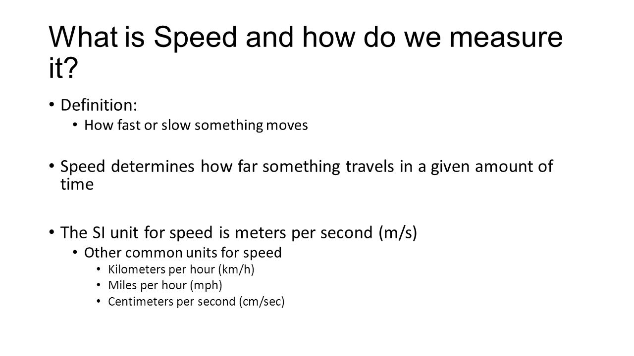 What is Speed and how do we measure it.