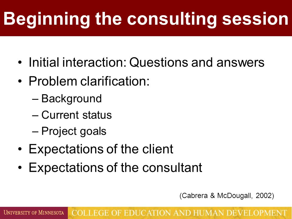 Beginning the consulting session Initial interaction: Questions and answers Problem clarification: –Background –Current status –Project goals Expectations of the client Expectations of the consultant (Cabrera & McDougall, 2002)