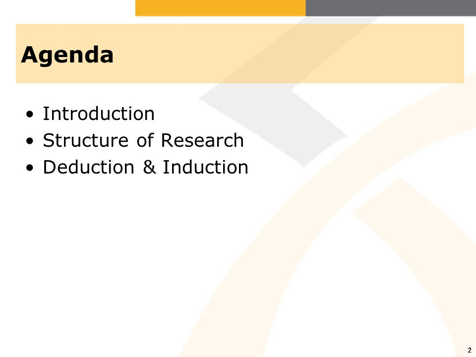 2 Agenda Introduction Structure of Research Deduction & Induction 2