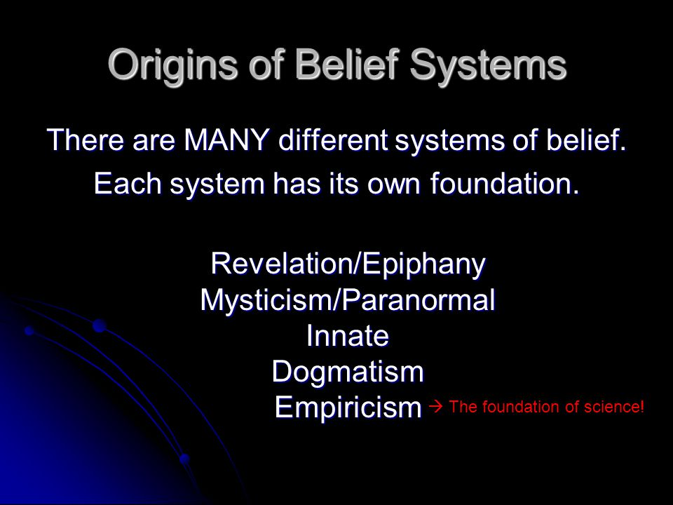 Origins of Belief Systems There are MANY different systems of belief.