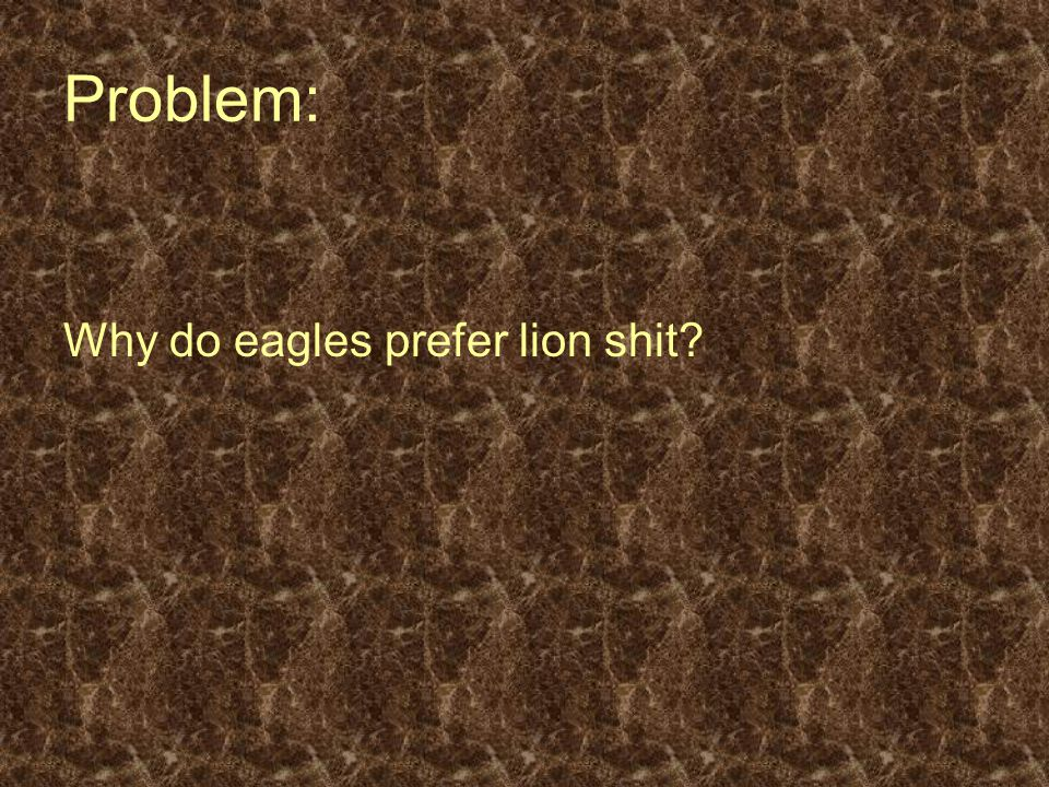 Problem: Why do eagles prefer lion shit?