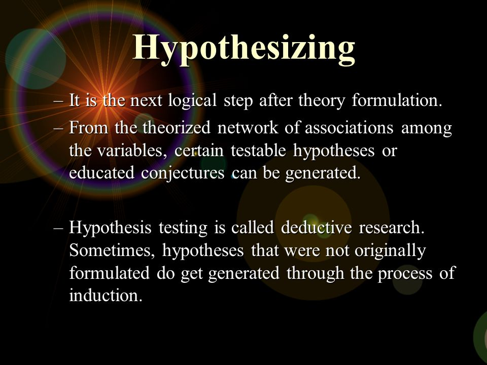 Hypothesizing –It is the next logical step after theory formulation. –From the theorized network of associations among the variables, certain testable