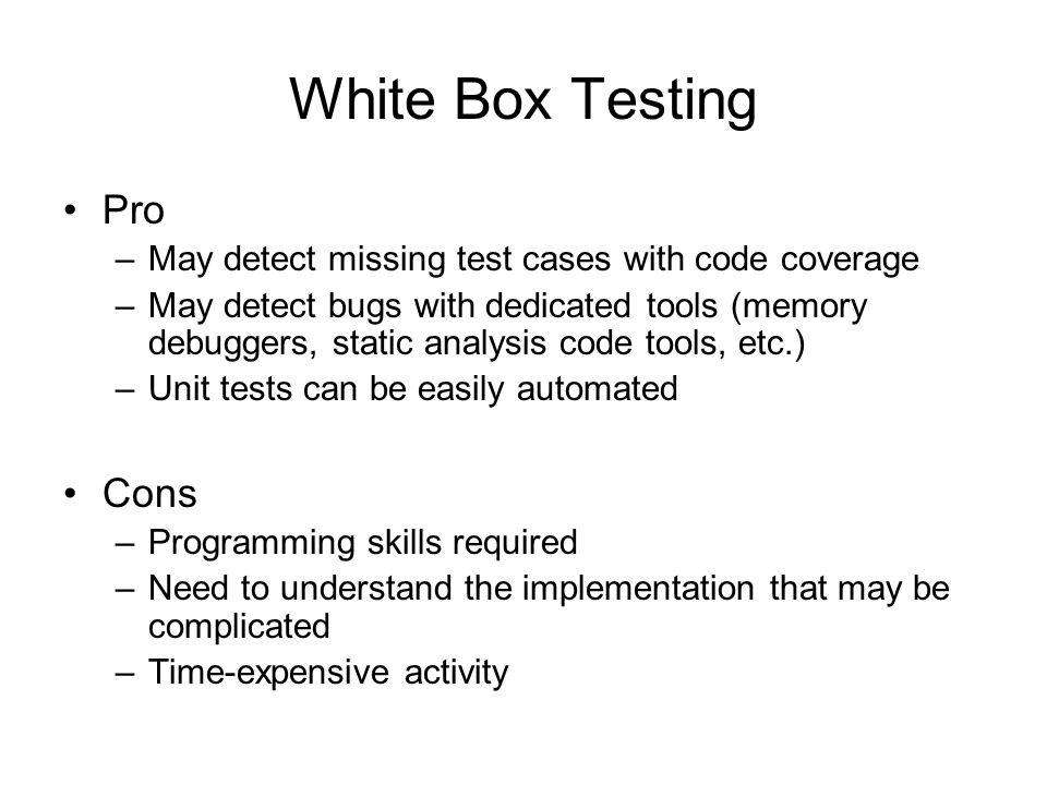 White Box Test Design Techniques branch testing condition testing data flow testing decision condition testing decision testing LCSAJ testing modified condition decision testing multiple condition testing: path testing statement testing: