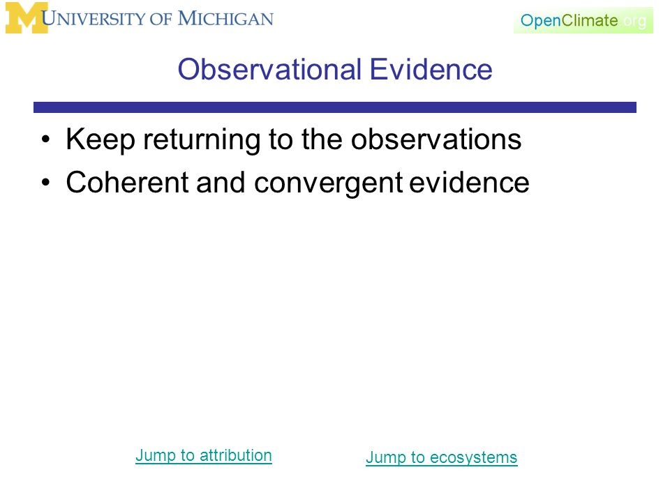Observational Evidence Keep returning to the observations Coherent and convergent evidence Jump to attribution Jump to ecosystems