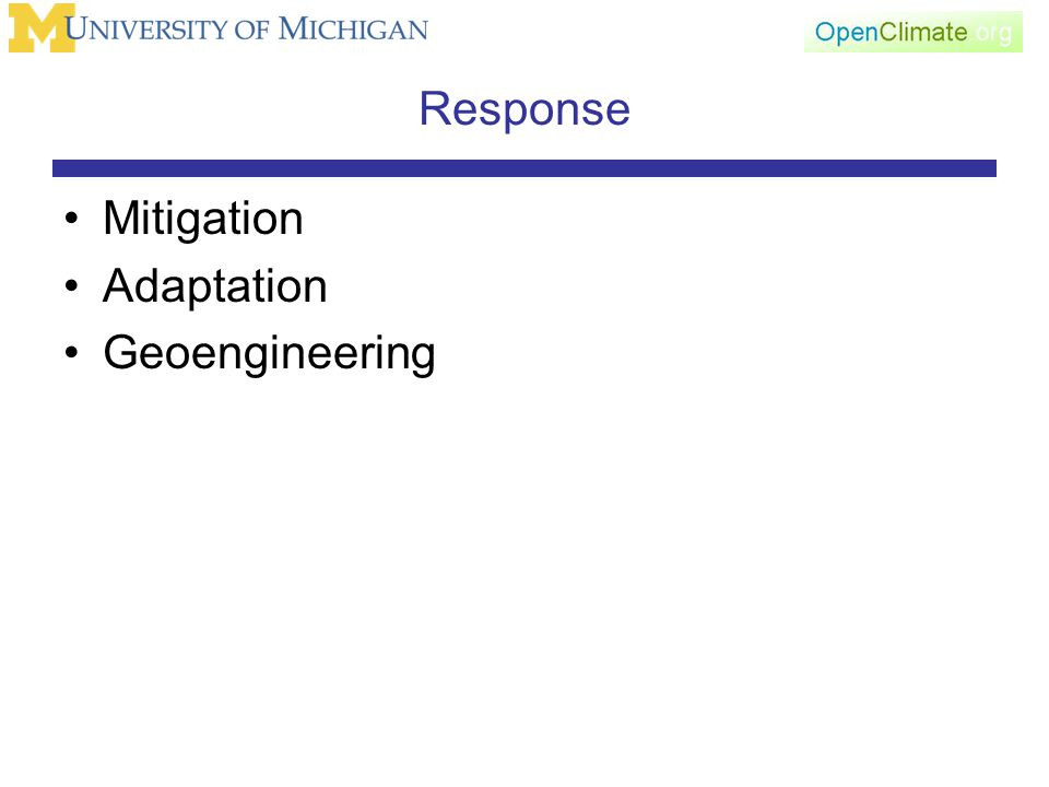 Response Mitigation Adaptation Geoengineering