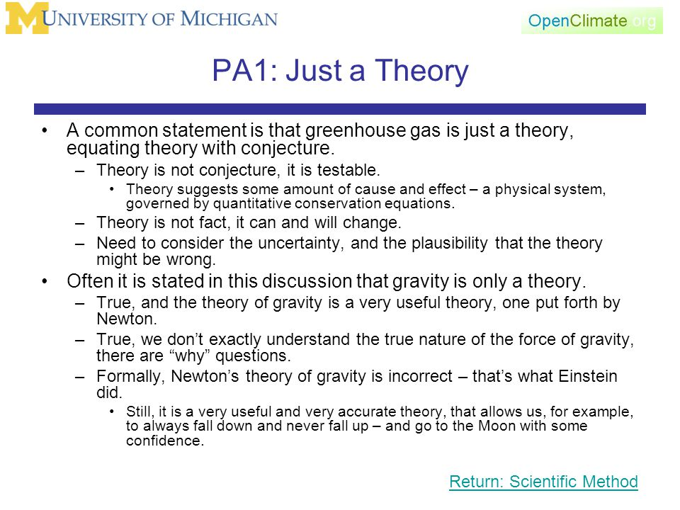 PA1: Just a Theory A common statement is that greenhouse gas is just a theory, equating theory with conjecture.