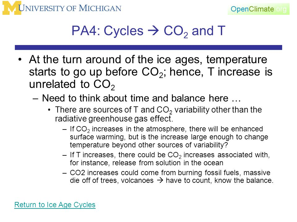 PA4: Cycles  CO 2 and T At the turn around of the ice ages, temperature starts to go up before CO 2 ; hence, T increase is unrelated to CO 2 –Need to think about time and balance here … There are sources of T and CO 2 variability other than the radiative greenhouse gas effect.