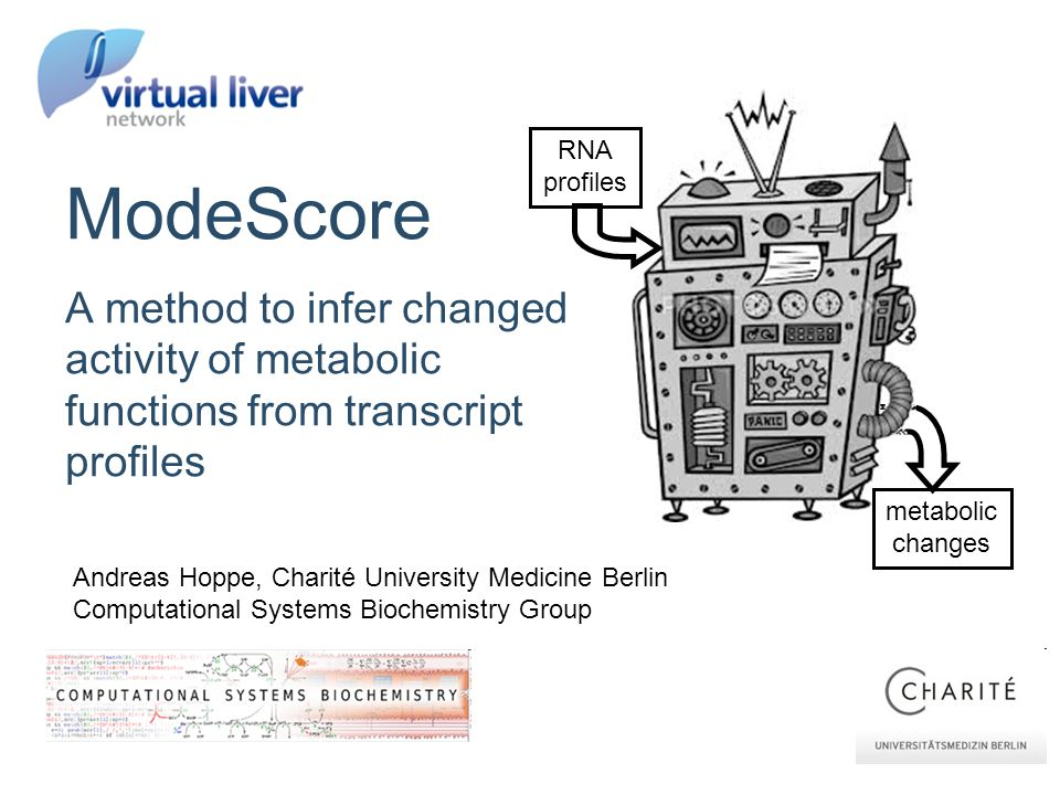 Andreas Hoppe, Charité University Medicine Berlin Computational Systems Biochemistry Group ModeScore A method to infer changed activity of metabolic functions from transcript profiles RNA profiles metabolic changes