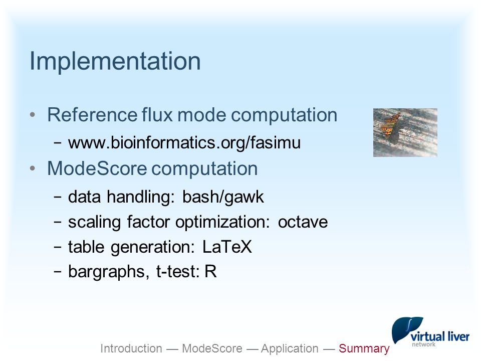 Implementation Reference flux mode computation − www.bioinformatics.org/fasimu ModeScore computation − data handling: bash/gawk − scaling factor optimization: octave − table generation: LaTeX − bargraphs, t-test: R Introduction — ModeScore — Application — Summary