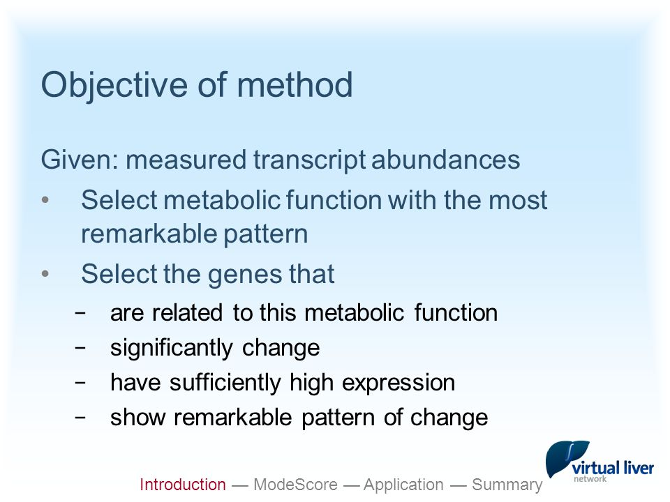 Outline Introduction ModeScore method Application example Implementation/Summary Introduction — ModeScore — Application — Summary