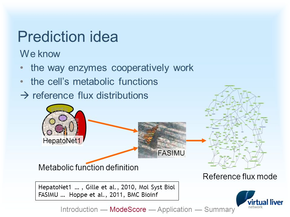 Prediction idea We know the way enzymes cooperatively work the cell's metabolic functions  reference flux distributions HepatoNet1 Reference flux mode Metabolic function definition FASIMU HepatoNet1 …, Gille et al., 2010, Mol Syst Biol FASIMU … Hoppe et al., 2011, BMC Bioinf Introduction — ModeScore — Application — Summary