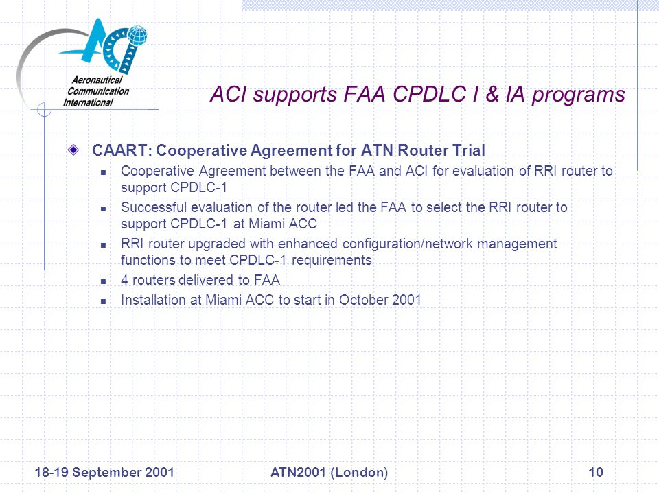 18-19 September 2001ATN2001 (London)10 ACI supports FAA CPDLC I & IA programs CAART: Cooperative Agreement for ATN Router Trial Cooperative Agreement