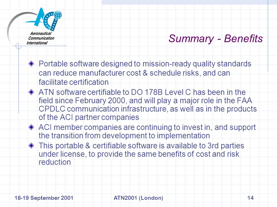 18-19 September 2001ATN2001 (London)14 Summary - Benefits Portable software designed to mission-ready quality standards can reduce manufacturer cost &