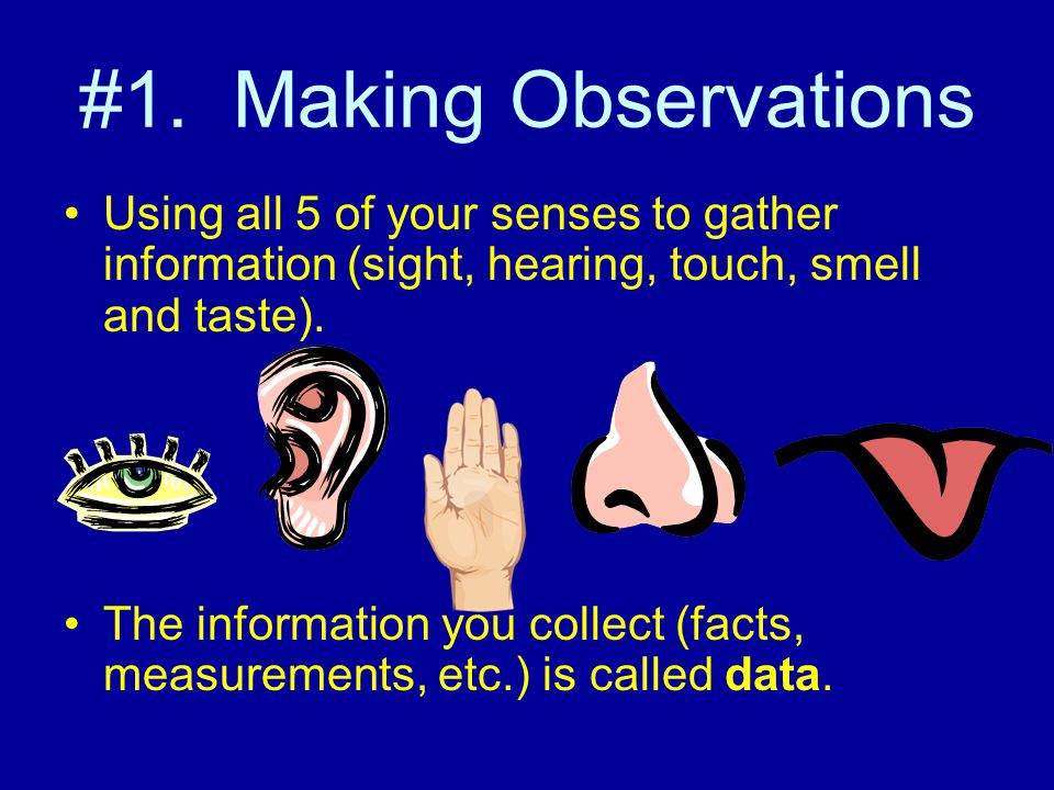 #1. Making Observations Using all 5 of your senses to gather information (sight, hearing, touch, smell and taste). The information you collect (facts,